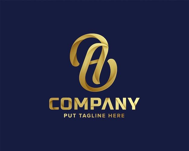 Goldener anfangsbuchstabe eine logo-vorlage