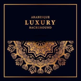 Goldener arabeskenhintergrund der luxusmandala mit arabischer art