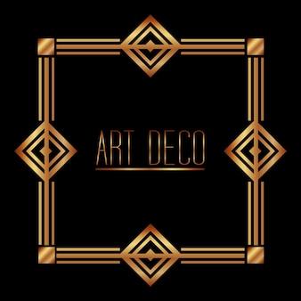Goldener art-deco-rahmen königliches dekoratives geometrisches