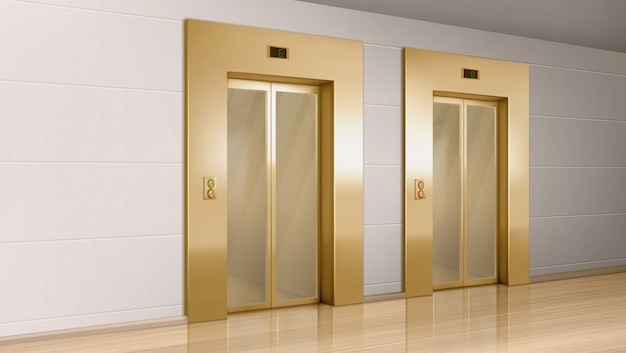 Goldener aufzug mit glastüren im flur