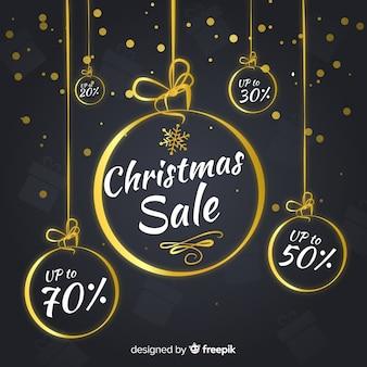 Goldener bälle weihnachtsverkaufshintergrund