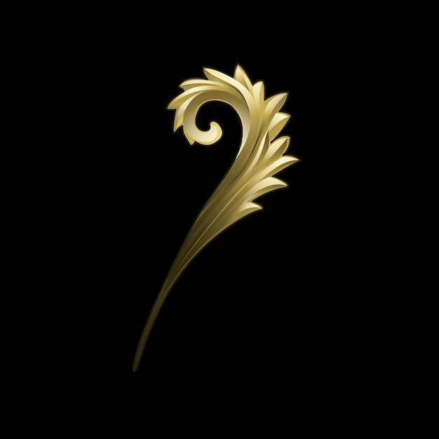 Goldener barocker blumenelementvektor
