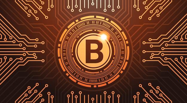 Goldener bitcoin-digital-währungsnetz-geld-konzept-stromkreis-hintergrund
