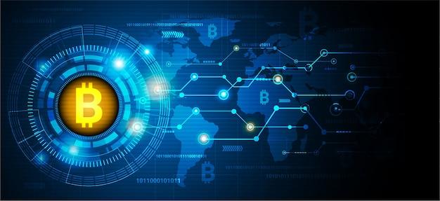 Goldener bitcoin digitale währung technologie weltkarte