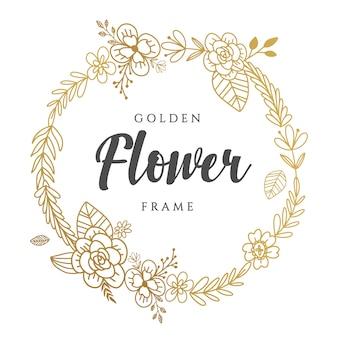 Goldener blumenkranz design