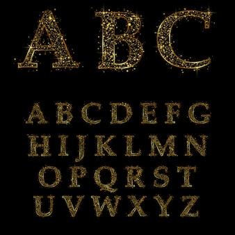 Goldener buchstabe, alphabetische schriftarten
