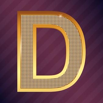 Goldener buchstabe d vektorschriftart für logo oder symbol