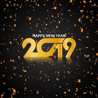 Goldener confettihintergrund des guten rutsch ins neue jahr 2019