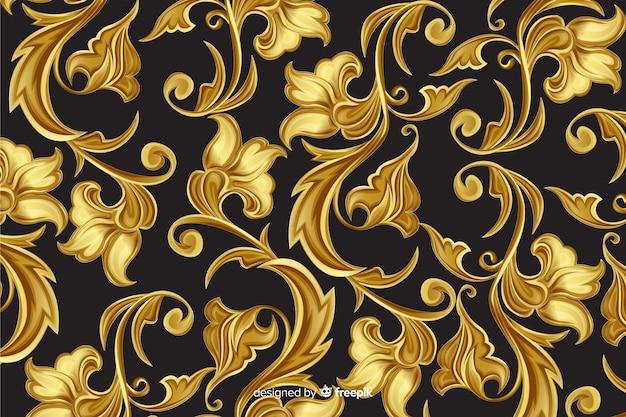 Goldener dekorativer dekorativer mit blumenhintergrund