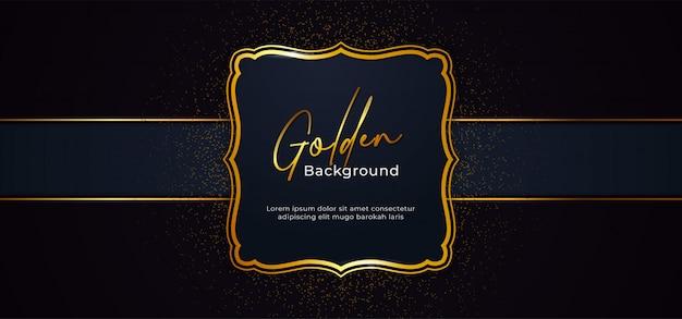 Goldener dekorativer funkelnder rahmen mit goldfunkeln-dekorationseffekt auf hintergrund des dunkelblauen papiers