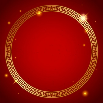 Goldener dekorativer kreis der asiatischen kultur. vektor-illustration