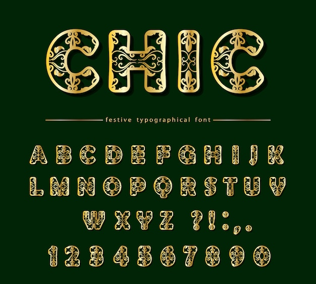 Goldener dekorativer schrifttyp herausgeschnitten. laser schneiden.