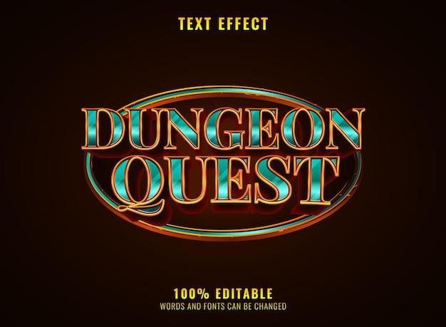 Goldener diamant luxus dungeon quest mittelalterliches rpg-spiel logo texteffekt