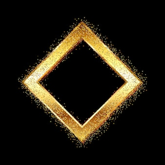 Goldener diamantrahmen auf glitzer