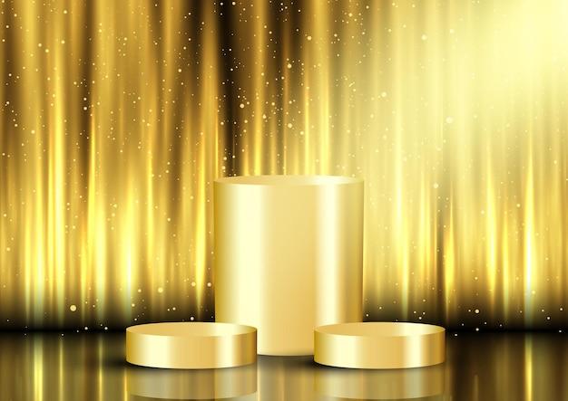 Goldener displayhintergrund mit leeren podesten