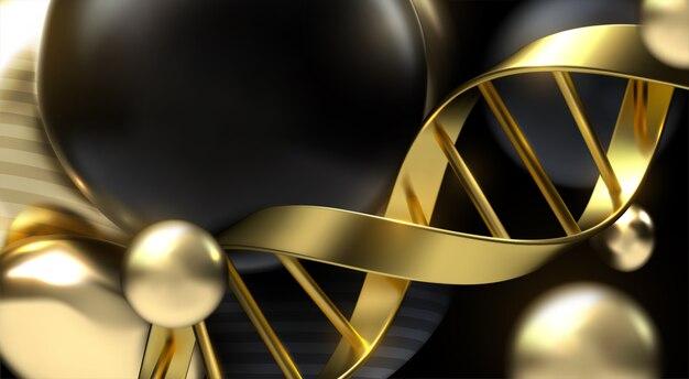 Goldener dna-strang mit schwarzen und goldenen partikeln.