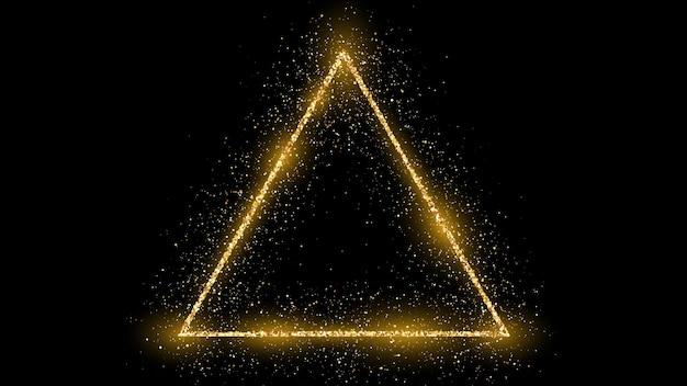 Goldener dreiecksrahmen mit glitzer, funkeln und fackeln auf dunklem hintergrund. leere luxuskulisse. vektor-illustration.