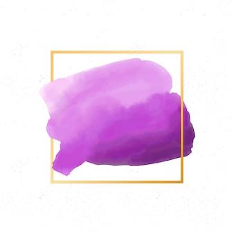 Goldener einfacher rahmen mit aquarellpurpurfleck