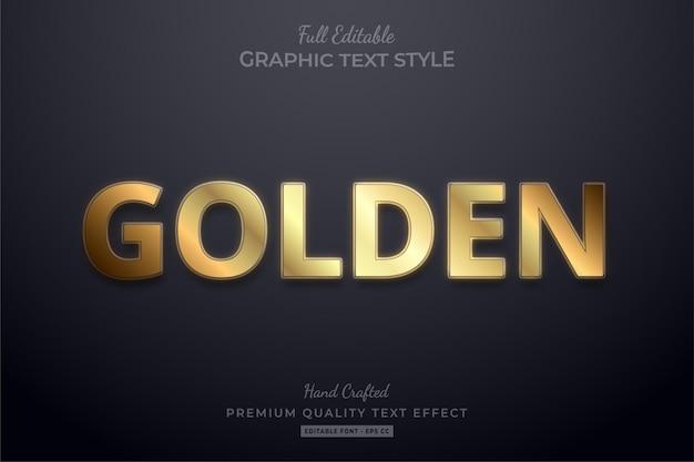 Goldener eleganter bearbeitbarer texteffekt-schriftstil