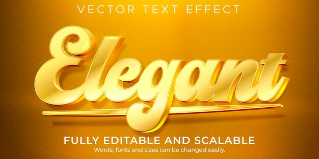 Goldener eleganter texteffekt, bearbeitbarer luxus und glänzender textstil