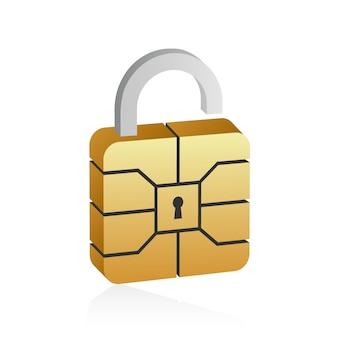 Goldener emv-mikrochip im 3d-stil.