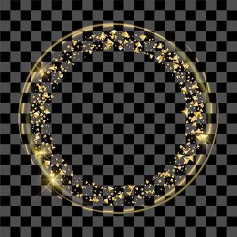 Goldener feenstaubring oder goldener runder rahmen auf transparentem