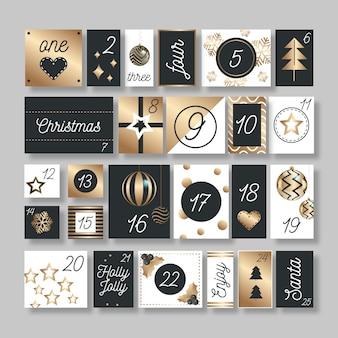 Goldener festlicher adventskalender