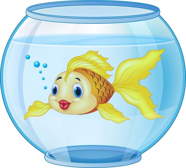 Goldener fisch der karikatur im aquarium