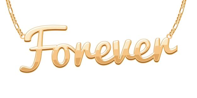 Goldener forever-wortanhänger an der kettenhalskette. schmuck.