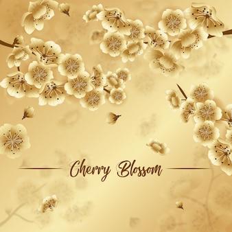 Goldener frühlingsfesthintergrund, luxuskirschblütentapete, frühlingsfest sakura