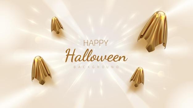 Goldener geist mit hellem neon, modernem geisterdesign, luxuriösem halloween-hintergrund im 3d-stil. realistische vektorillustration.
