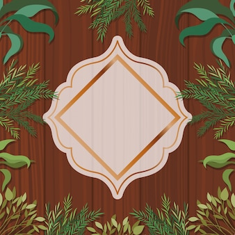 Goldener geometrischer rahmen mit kräuter- und hölzernem hintergrund
