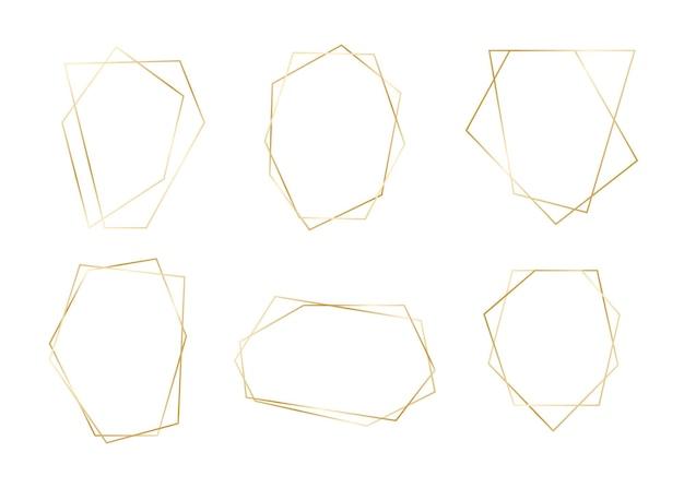 Goldener geometrischer rahmen stellte goldene abstrakte luxusgrenze ein