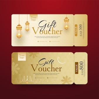 Goldener geschenkgutschein-set mit beleuchteten laternen und verschiedenen