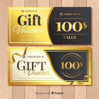 Goldener geschenkgutschein