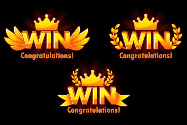 Goldener gewinn. versionen isoliertes logo gewinnen sie für die entwicklung von 2d-spielen.