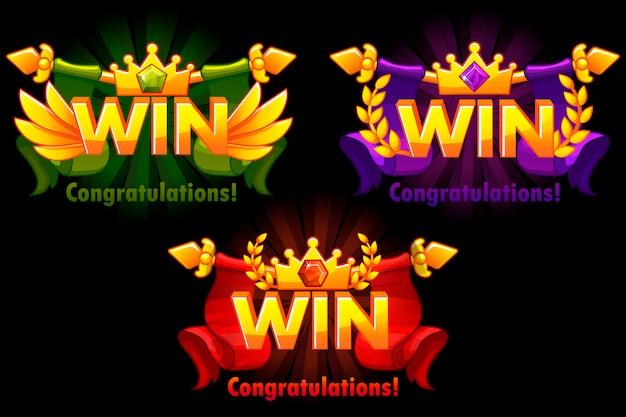 Goldener gewinn. versionen isoliertes logo gewinnen sie mit farbigen edelsteinen für die entwicklung von 2d-spielen.