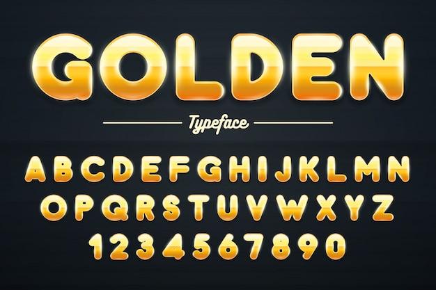 Goldener glänzender guss, goldbuchstaben und zahlillustration