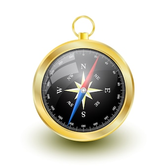 Goldener glänzender kompass mit windrose.