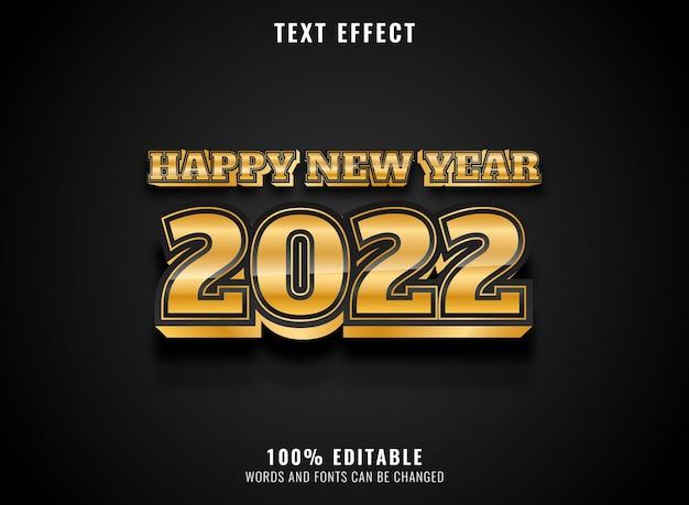 Goldener glänzender luxus guten rutsch ins neue jahr 2022 texteffekt