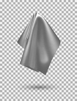 Goldener glänzender stoff, taschentuch oder tischdecke hängen, isoliert auf weißem hintergrund. vektor-illustration