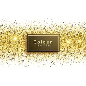 Goldener glitter auf weißem hintergrund