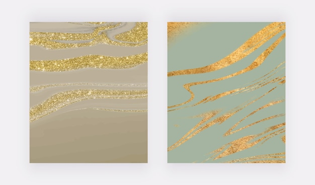 Goldener glitzer flüssiger marmor wandkunstdrucke