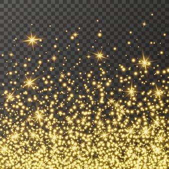 Goldener glitzer funkeln auf einem transparenten hintergrund bunter lebendiger hintergrund mit funkelnden lichtern