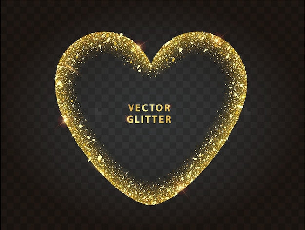 Goldener glitzer-herzrahmen mit funkeln. abstrakte leuchtende glühende herzförmige partikel. luxus kulisse. vektor-illustration