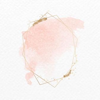 Goldener glitzerfleck auf einem sechseckigen rahmen