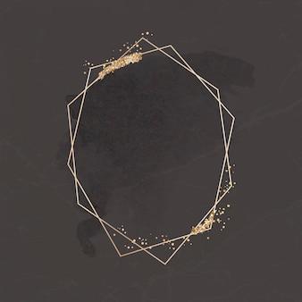 Goldener glitzerfleck auf einem sechseckrahmen