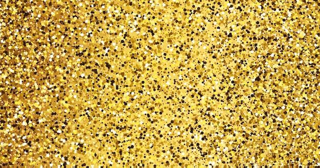 Goldener glitzernder hintergrund mit goldfunkeln und glitzereffekt. banner-design. leerer platz für ihren text. vektor-illustration