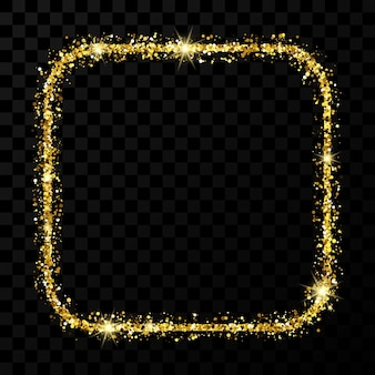 Goldener glitzerrahmen. quadrat mit abgerundeten ecken rahmen mit glänzenden funkeln auf dunklem transparentem hintergrund. vektor-illustration