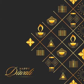 Goldener glücklicher diwali-text mit festivalelementen auf schwarzem hintergrund.
